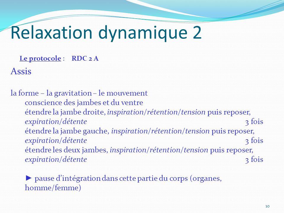 Relaxation dynamique 2 Le protocole : RDC 2 A Assis la forme – la gravitation – le mouvement conscience des jambes et du ventre étendre la jambe droit