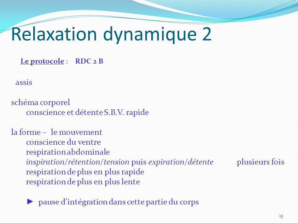 Relaxation dynamique 2 Le protocole : RDC 2 B assis schéma corporel conscience et détente S.B.V. rapide la forme – le mouvement conscience du ventre r