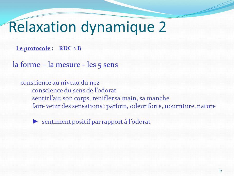 Relaxation dynamique 2 Le protocole : RDC 2 B la forme – la mesure - les 5 sens conscience au niveau du nez conscience du sens de l'odorat sentir l'ai