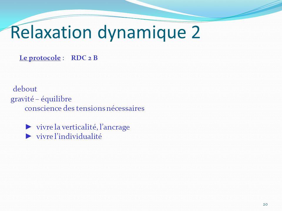 Relaxation dynamique 2 Le protocole : RDC 2 B debout gravité – équilibre conscience des tensions nécessaires ► vivre la verticalité, l'ancrage ► vivre
