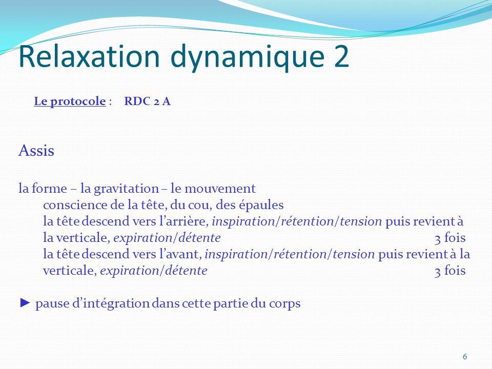 Relaxation dynamique 2 Le protocole : RDC 2 A Assis la forme – la gravitation – le mouvement conscience de la tête, du cou, des épaules la tête descen