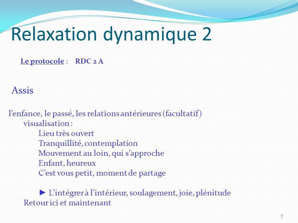 Relaxation dynamique 2 Le protocole : RDC 2 A Assis l'enfance, le passé, les relations antérieures (facultatif) visualisation : Lieu très ouvert Tranq