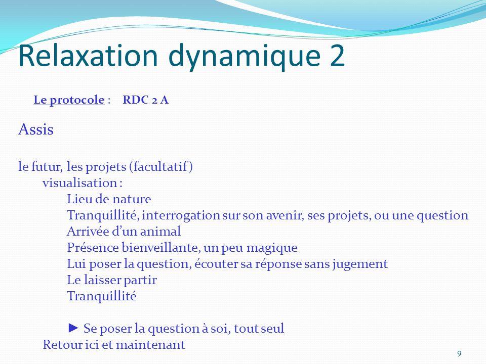 Relaxation dynamique 2 Le protocole : RDC 2 A Assis le futur, les projets (facultatif) visualisation : Lieu de nature Tranquillité, interrogation sur