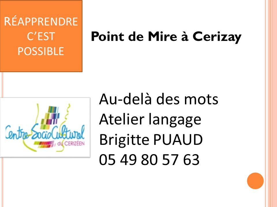 Point de Mire à Cerizay Au-delà des mots Atelier langage Brigitte PUAUD 05 49 80 57 63 R ÉAPPRENDRE C'EST POSSIBLE