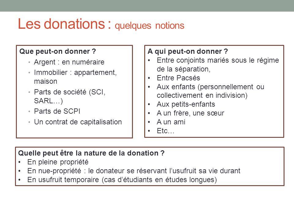 Les donations : quelques notions Que peut-on donner ? Argent : en numéraire Immobilier : appartement, maison Parts de société (SCI, SARL…) Parts de SC