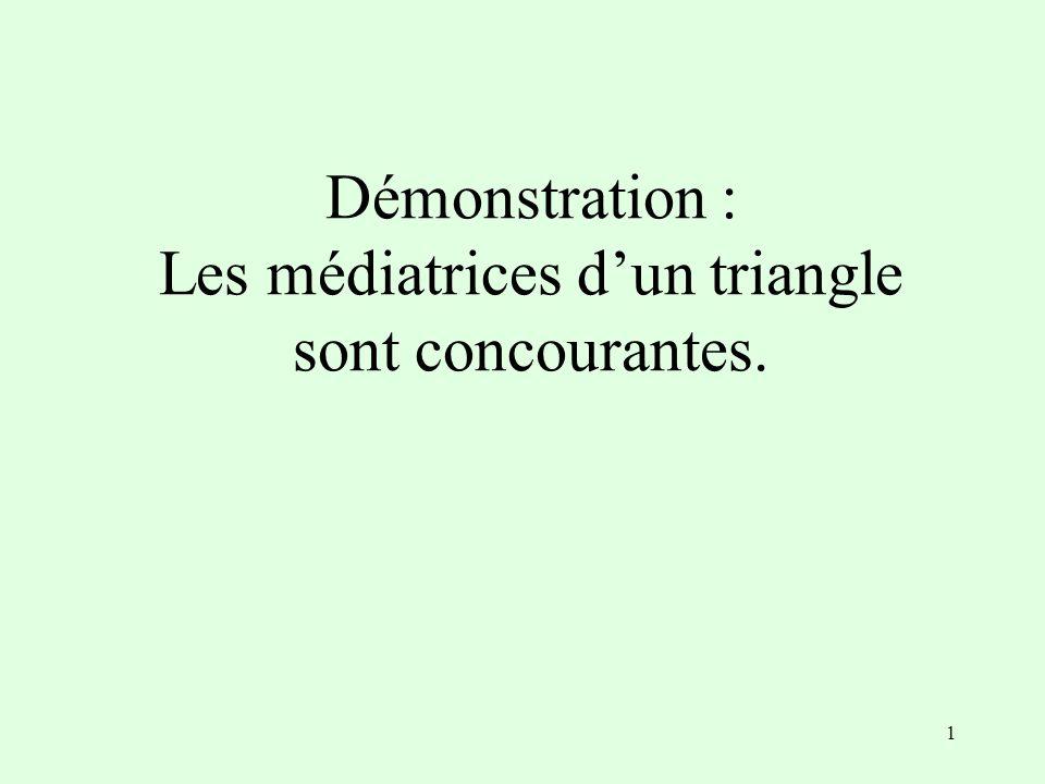 1 Démonstration : Les médiatrices d'un triangle sont concourantes.