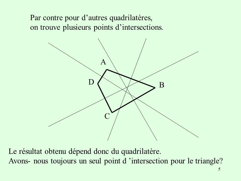 5 A B C D Le résultat obtenu dépend donc du quadrilatère.
