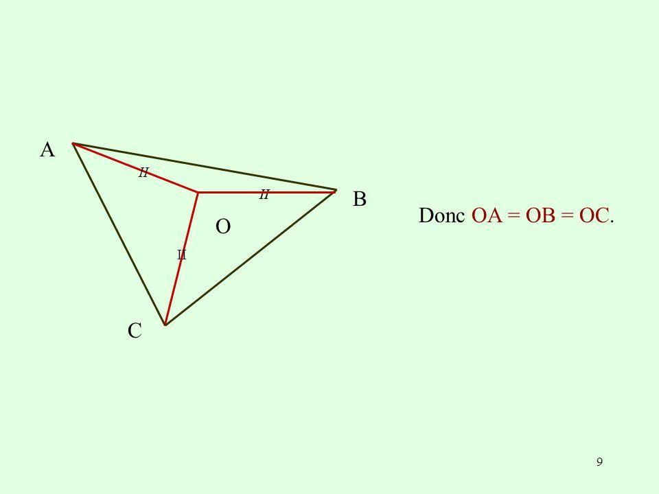 9 Donc OA = OB = OC. B II A C O