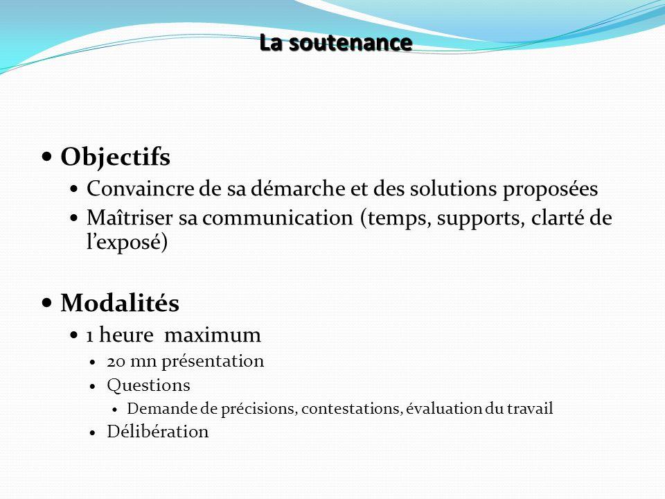 La soutenance Objectifs Convaincre de sa démarche et des solutions proposées Maîtriser sa communication (temps, supports, clarté de l'exposé) Modalité