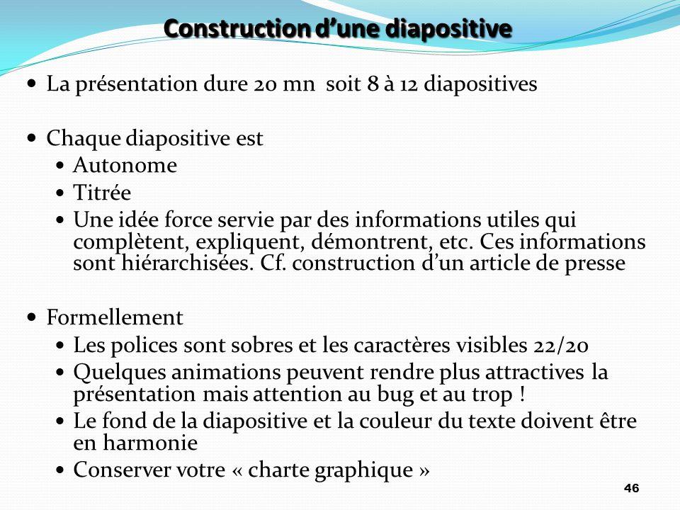 Construction d'une diapositive La présentation dure 20 mn soit 8 à 12 diapositives Chaque diapositive est Autonome Titrée Une idée force servie par de