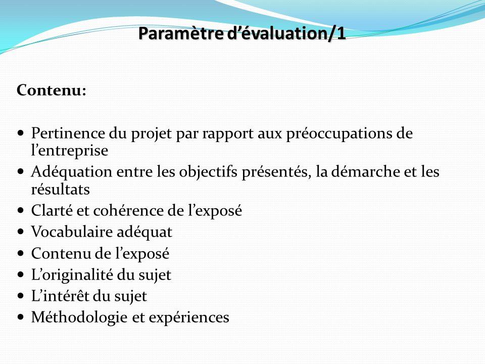 Paramètre d'évaluation/1 Contenu: Pertinence du projet par rapport aux préoccupations de l'entreprise Adéquation entre les objectifs présentés, la dém
