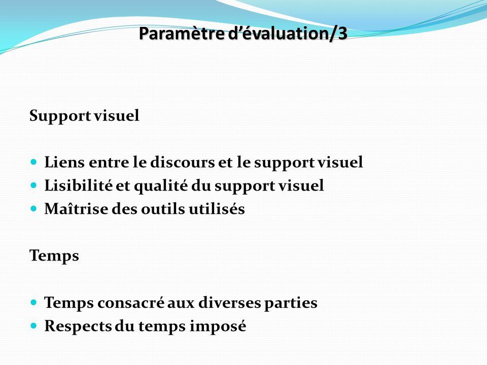 Paramètre d'évaluation/3 Support visuel Liens entre le discours et le support visuel Lisibilité et qualité du support visuel Maîtrise des outils utili