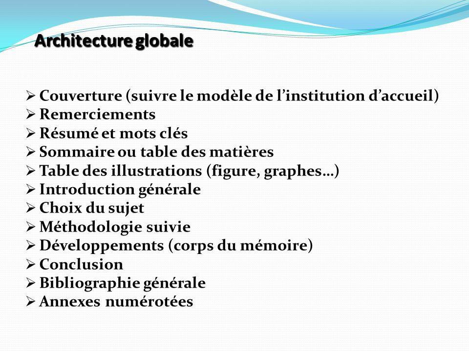 Architecture globale Architecture globale  Couverture (suivre le modèle de l'institution d'accueil)  Remerciements  Résumé et mots clés  Sommaire