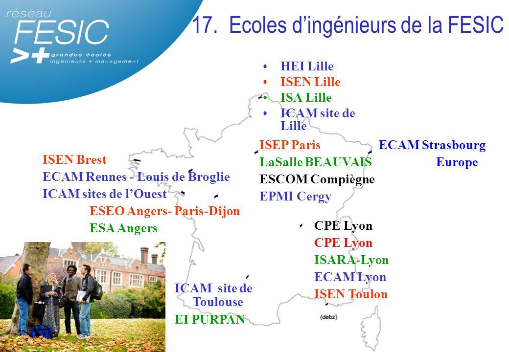 17. Ecoles d'ingénieurs de la FESIC HEI Lille ISEN Lille ISA Lille ICAM site de Lille CPE Lyon ISARA-Lyon ECAM Lyon ISEN Toulon ISEN Brest ECAM Rennes