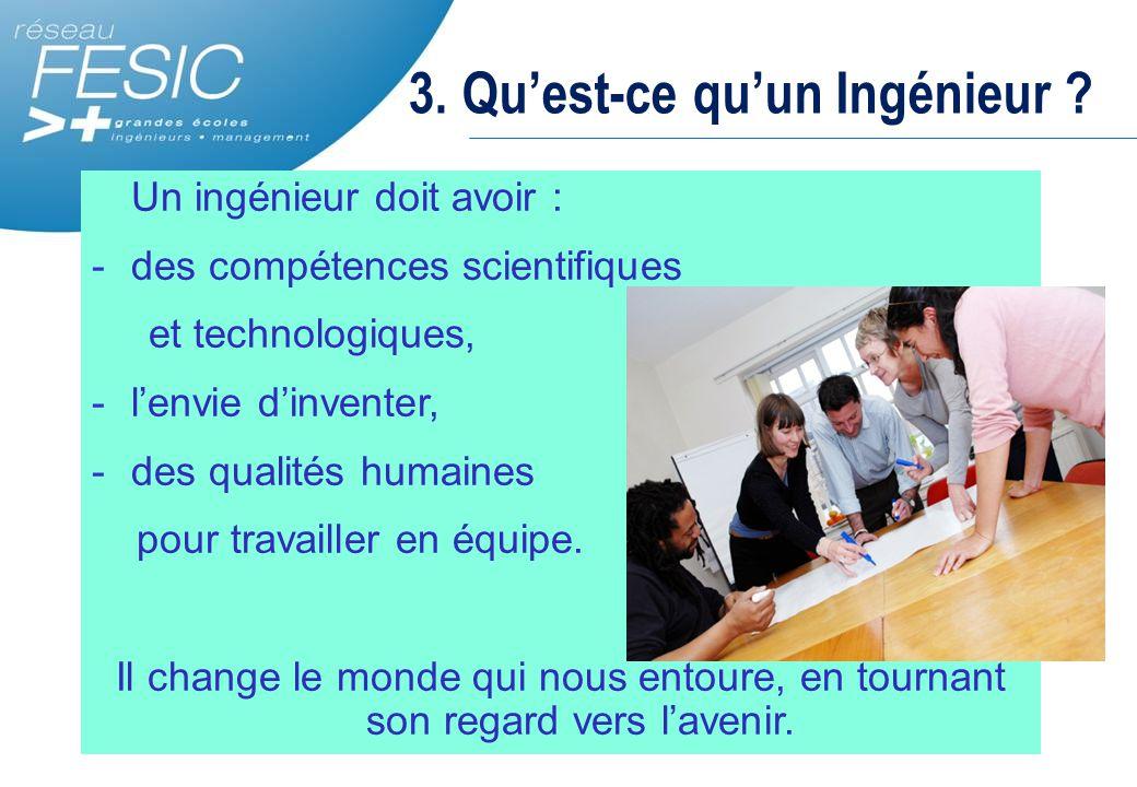 3. Qu'est-ce qu'un Ingénieur ? Un ingénieur doit avoir : -des compétences scientifiques et technologiques, -l'envie d'inventer, -des qualités humaines