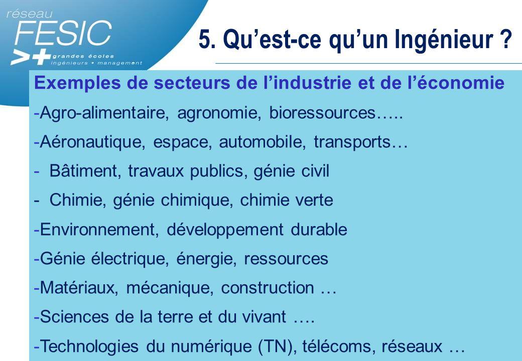 5. Qu'est-ce qu'un Ingénieur ? Exemples de secteurs de l'industrie et de l'économie -Agro-alimentaire, agronomie, bioressources….. -Aéronautique, espa