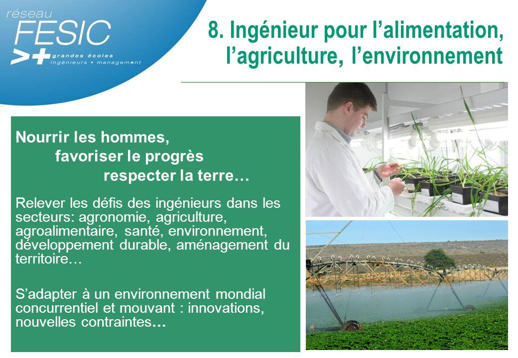 Nourrir les hommes, favoriser le progrès respecter la terre… Relever les défis des ingénieurs dans les secteurs: agronomie, agriculture, agroalimentai