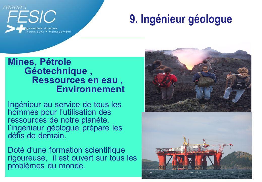 Mines, Pétrole Géotechnique, Ressources en eau, Environnement Ingénieur au service de tous les hommes pour l'utilisation des ressources de notre planè