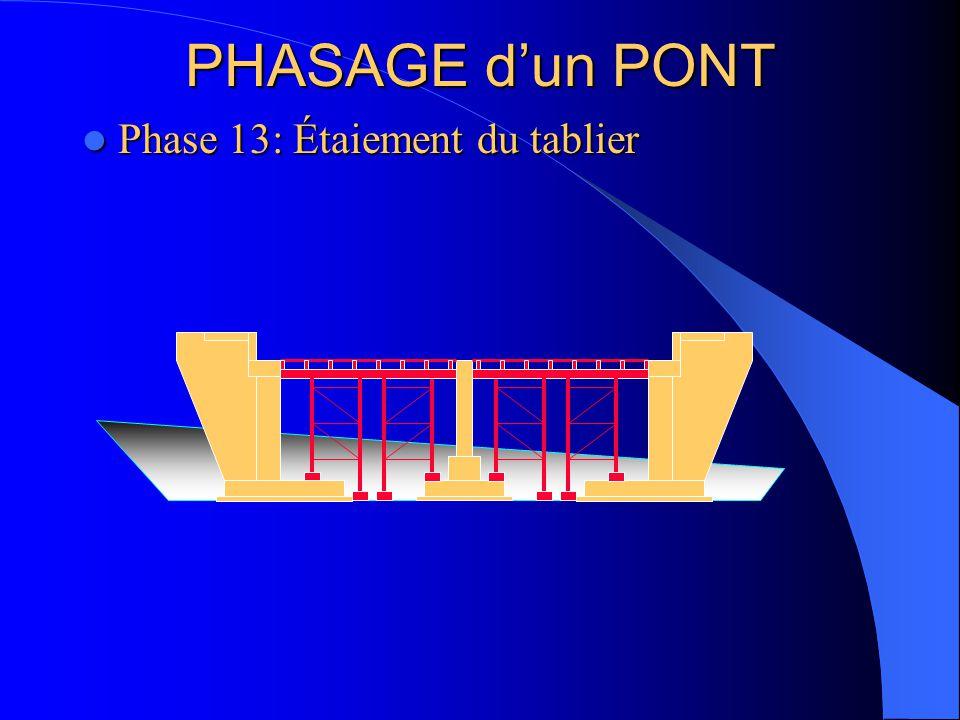 PHASAGE d'un PONT Phase 13: Étaiement du tablier Phase 13: Étaiement du tablier
