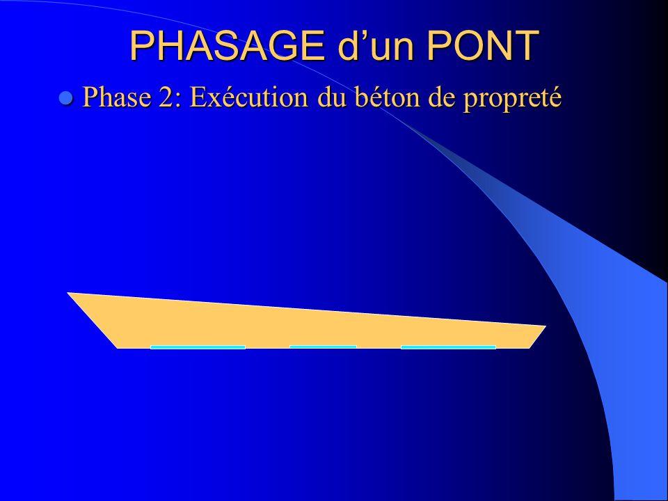 Phase 2: Exécution du béton de propreté Phase 2: Exécution du béton de propreté PHASAGE d'un PONT