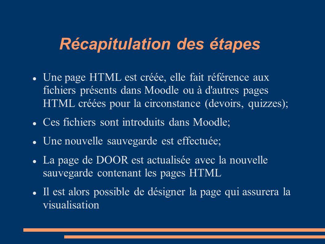 Récapitulation des étapes Une page HTML est créée, elle fait référence aux fichiers présents dans Moodle ou à d autres pages HTML créées pour la circonstance (devoirs, quizzes); Ces fichiers sont introduits dans Moodle; Une nouvelle sauvegarde est effectuée; La page de DOOR est actualisée avec la nouvelle sauvegarde contenant les pages HTML Il est alors possible de désigner la page qui assurera la visualisation