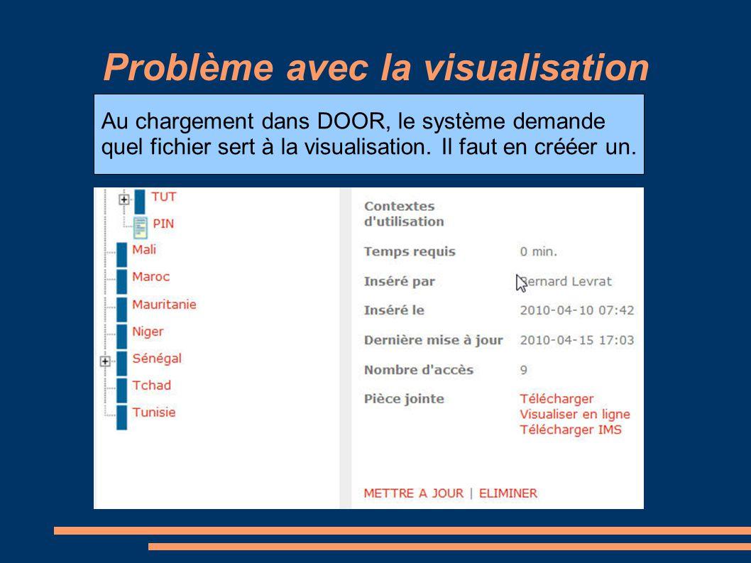 Problème avec la visualisation Au chargement dans DOOR, le système demande quel fichier sert à la visualisation.