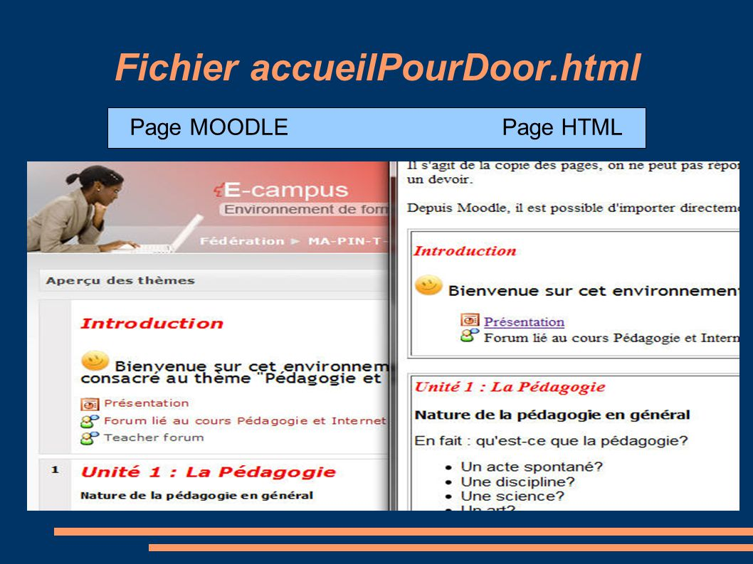 Fichier accueilPourDoor.html Page MOODLE Page HTML