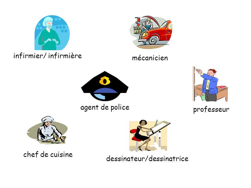 infirmier/ infirmière mécanicien chef de cuisine agent de police dessinateur/dessinatrice professeur