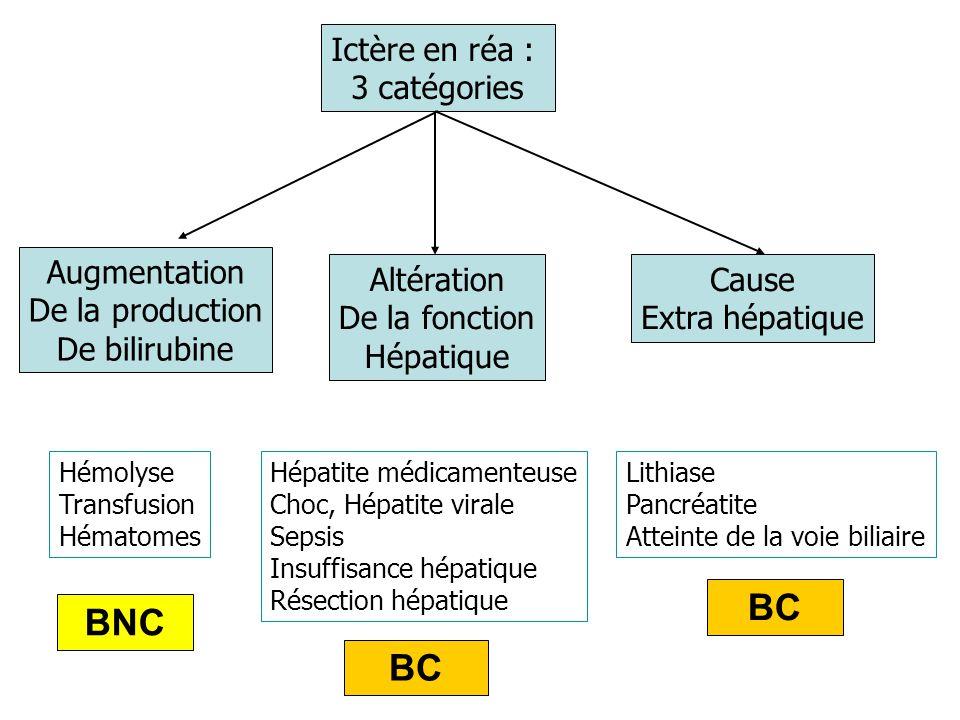 Ictère par augmentation de la production de bilirubine Biologie : –Augmentation modérée de la bilirubine non conjuguée, élévation ASAT/LDH –ALAT et Phosphatases alcalines non significativement augmentées –Présence d'urobilinogène fécal et urinaire (urines et selles hypercolorées) Hémolyse : –Médicamenteuses- PTT –Transfusion- CIVD –Infection- Hémoglobinopathies –Valves cardiaques- déficit enzymatique BNC
