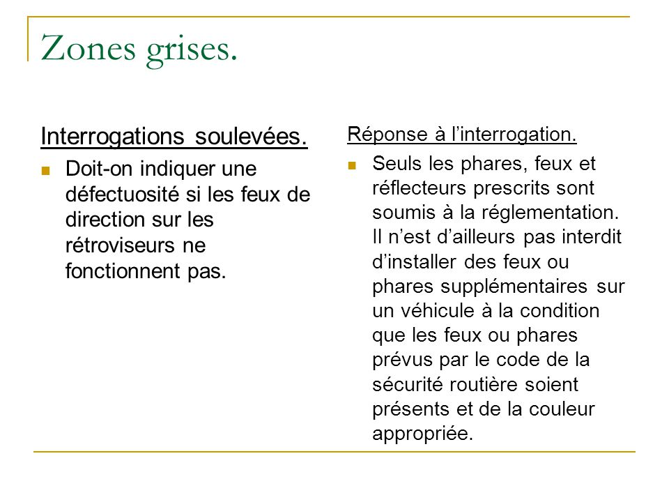 Zones grises. Interrogations soulevées.