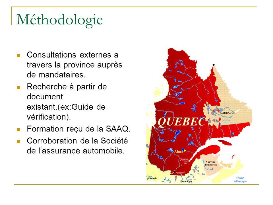 Méthodologie Consultations externes a travers la province auprès de mandataires.
