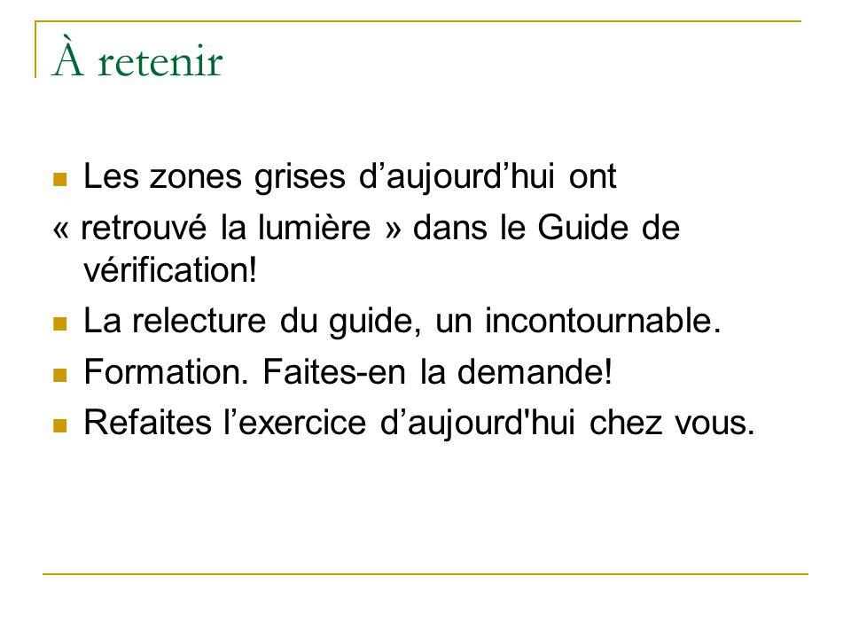 À retenir Les zones grises d'aujourd'hui ont « retrouvé la lumière » dans le Guide de vérification.