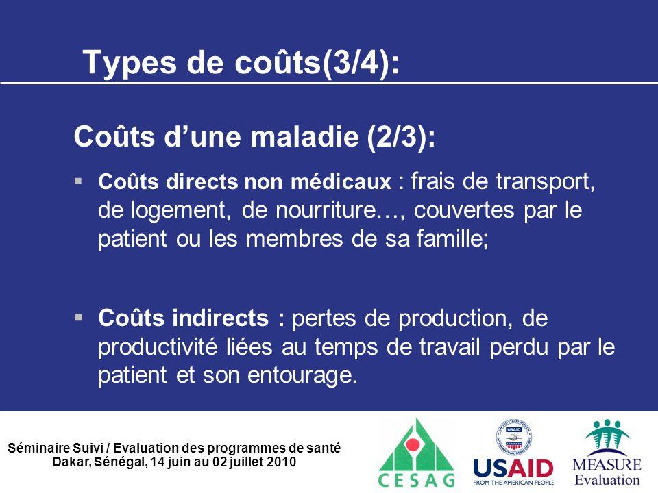 Séminaire Suivi / Evaluation des programmes de santé Dakar, Sénégal, 14 juin au 02 juillet 2010 Types de coûts(3/4): Coûts d'une maladie (2/3):  Coût