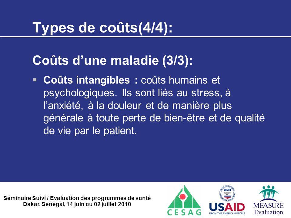 Séminaire Suivi / Evaluation des programmes de santé Dakar, Sénégal, 14 juin au 02 juillet 2010 Types de coûts(4/4): Coûts d'une maladie (3/3):  Coût