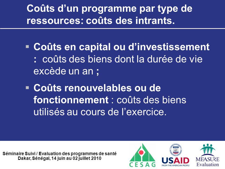 Séminaire Suivi / Evaluation des programmes de santé Dakar, Sénégal, 14 juin au 02 juillet 2010 Coûts d'un programme par type de ressources: coûts des