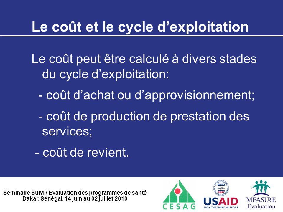 Séminaire Suivi / Evaluation des programmes de santé Dakar, Sénégal, 14 juin au 02 juillet 2010 Le coût et le cycle d'exploitation Le coût peut être c
