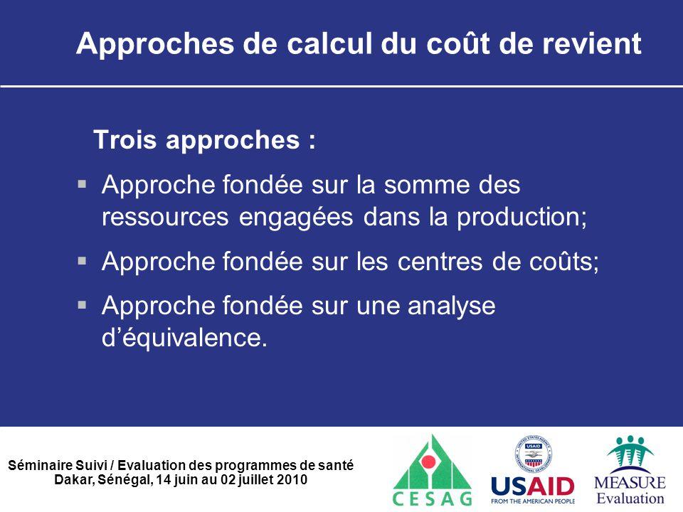 Séminaire Suivi / Evaluation des programmes de santé Dakar, Sénégal, 14 juin au 02 juillet 2010 Approches de calcul du coût de revient Trois approches