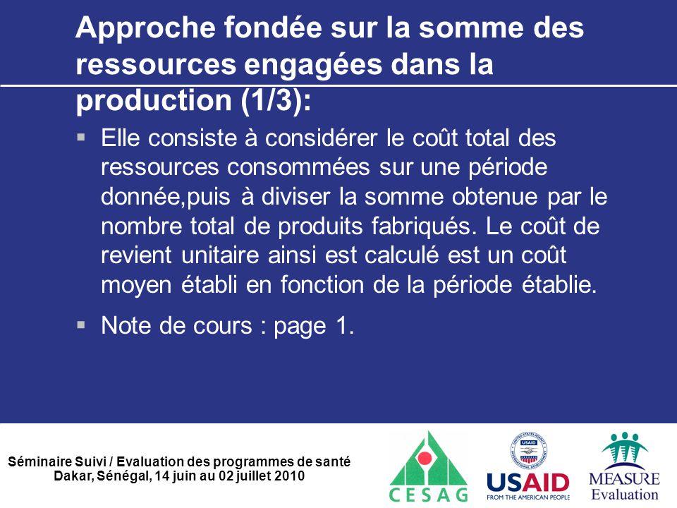 Séminaire Suivi / Evaluation des programmes de santé Dakar, Sénégal, 14 juin au 02 juillet 2010 Approche fondée sur la somme des ressources engagées d