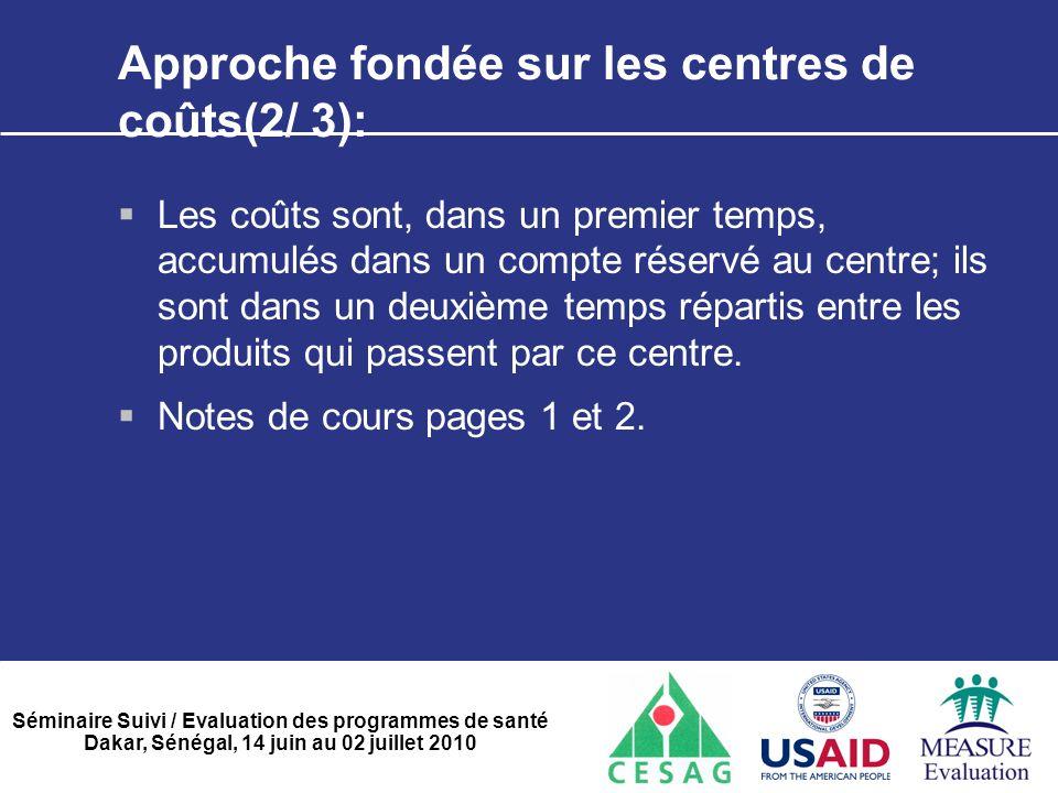 Séminaire Suivi / Evaluation des programmes de santé Dakar, Sénégal, 14 juin au 02 juillet 2010 Approche fondée sur les centres de coûts(2/ 3):  Les