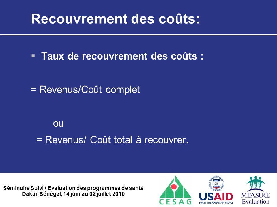 Séminaire Suivi / Evaluation des programmes de santé Dakar, Sénégal, 14 juin au 02 juillet 2010 Recouvrement des coûts:  Taux de recouvrement des coû