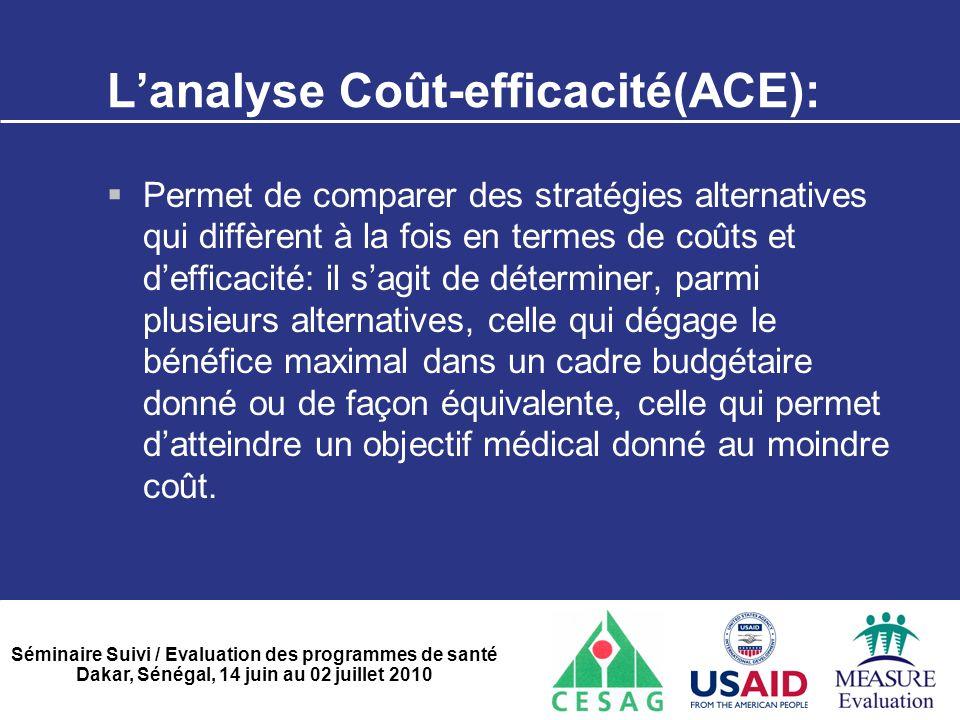 Séminaire Suivi / Evaluation des programmes de santé Dakar, Sénégal, 14 juin au 02 juillet 2010 L'analyse Coût-efficacité(ACE):  Permet de comparer d