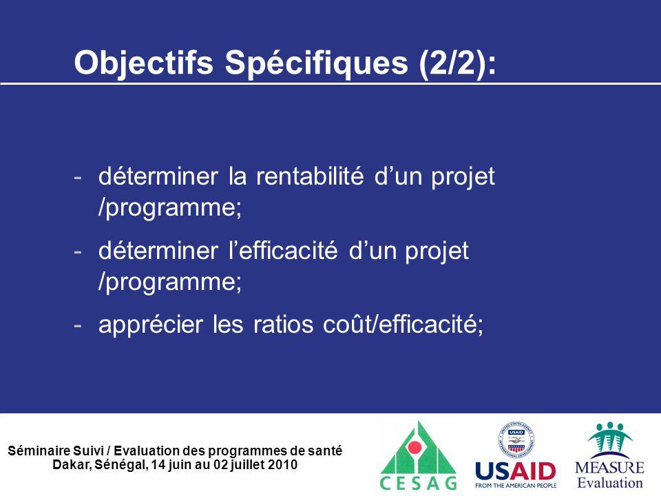 Séminaire Suivi / Evaluation des programmes de santé Dakar, Sénégal, 14 juin au 02 juillet 2010 Les méthodes de calcul de coûts(1/2)  La méthode du coût variable: > ventes- CVD- CVI= MCV > Total MSCV – Coûts fixes = Résultats.