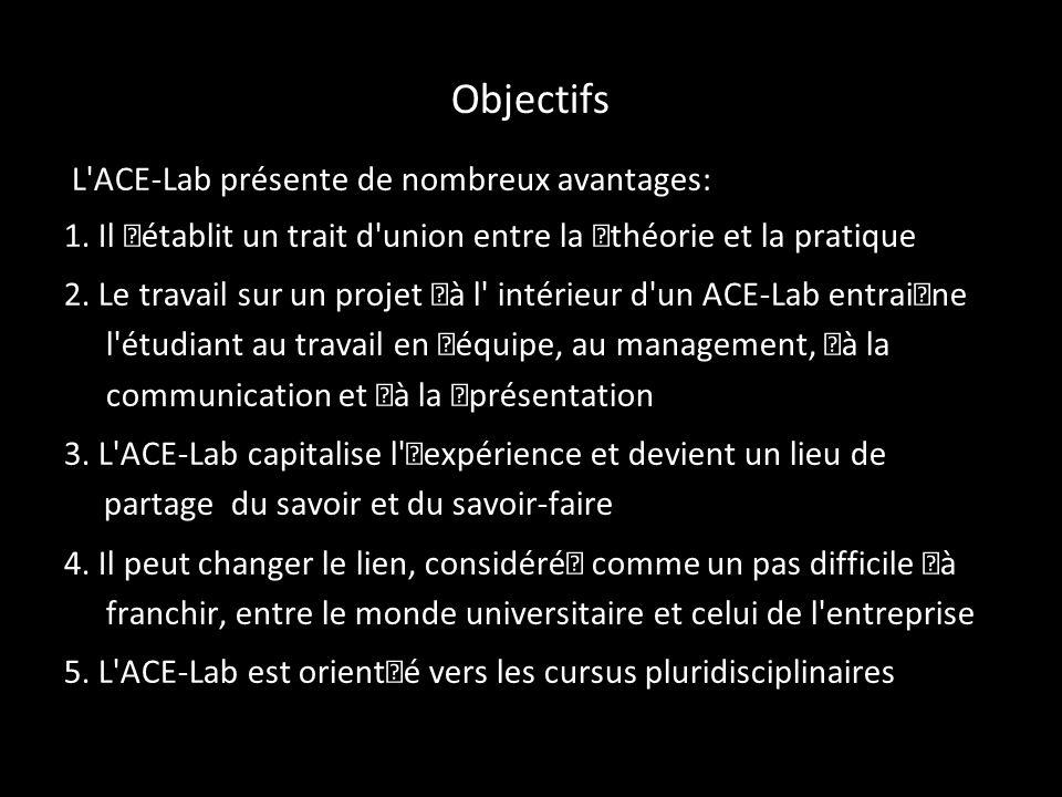 Objectifs L ACE-Lab présente de nombreux avantages: 1.