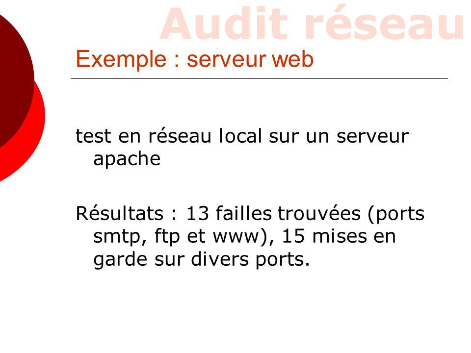 Exemple : serveur web test en réseau local sur un serveur apache Résultats : 13 failles trouvées (ports smtp, ftp et www), 15 mises en garde sur diver
