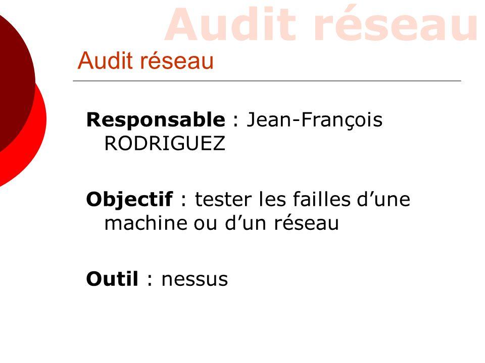 Audit réseau Responsable : Jean-François RODRIGUEZ Objectif : tester les failles d'une machine ou d'un réseau Outil : nessus Audit réseau