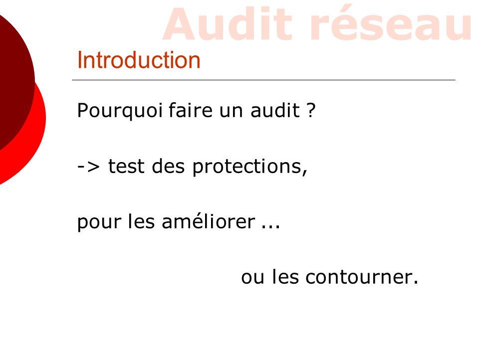 Introduction Pourquoi faire un audit ? -> test des protections, pour les améliorer... ou les contourner.