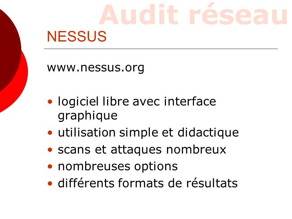 Audit réseau Principe : client/serveur  nessusd, le démon-serveur  nessus, le client  le client gère l'interface et se connecte au serveur  le serveur effectue les tests