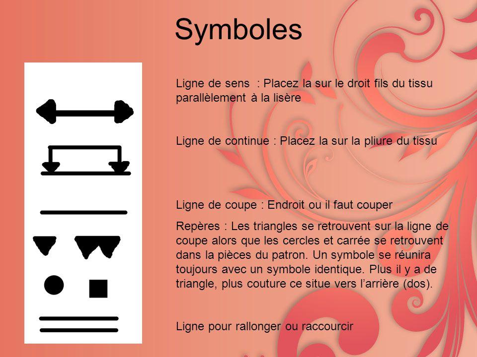 Symboles Ligne de sens : Placez la sur le droit fils du tissu parallèlement à la lisère Ligne de continue : Placez la sur la pliure du tissu Ligne de