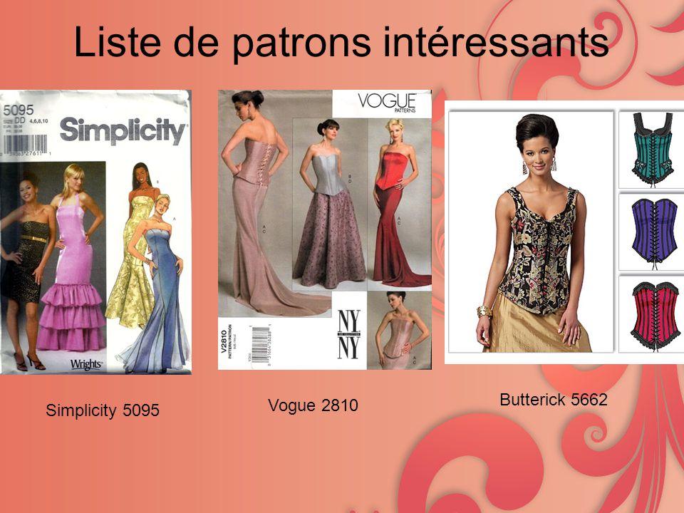 Liste de patrons intéressants Simplicity 5095 Vogue 2810 Butterick 5662