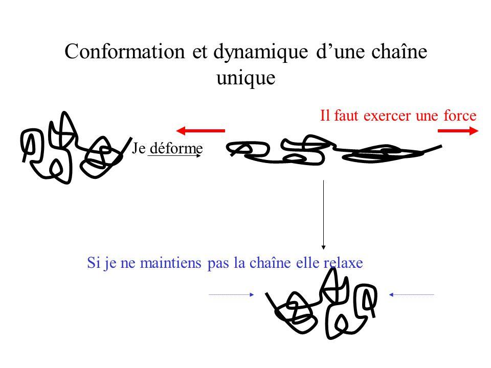 Conformation et dynamique d'une chaîne unique Je déforme Il faut exercer une force Si je ne maintiens pas la chaîne elle relaxe
